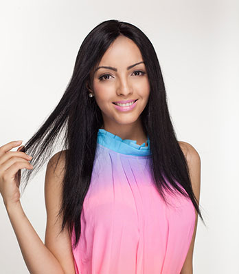 Cheveux Humains Raides Front Lace Wig